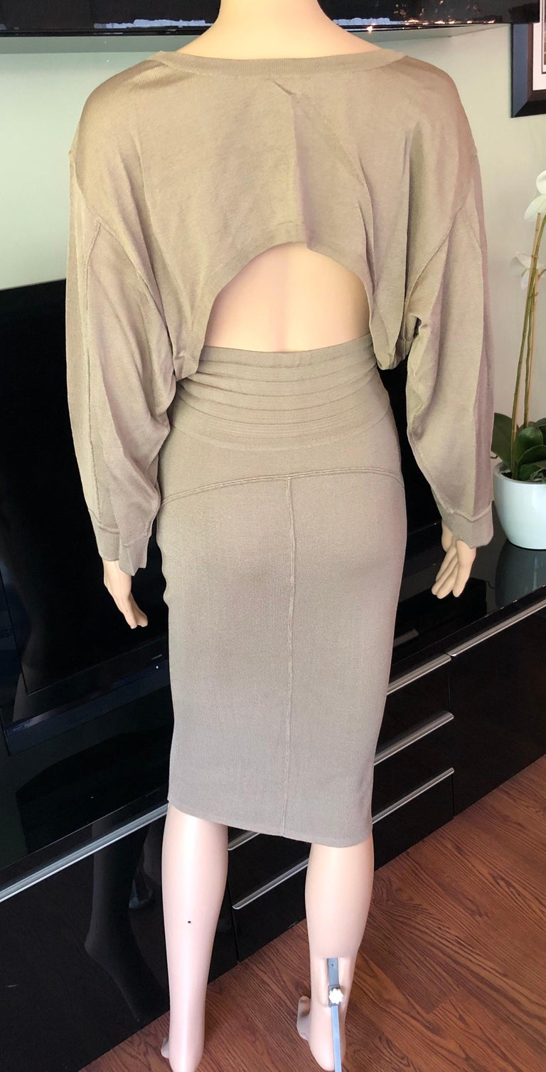 Beige Azzedine Alaia Vintage Cutout Back Dress For Sale