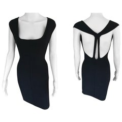 Azzedine Alaia Vintage Fitted Open Back Black Mini Dress