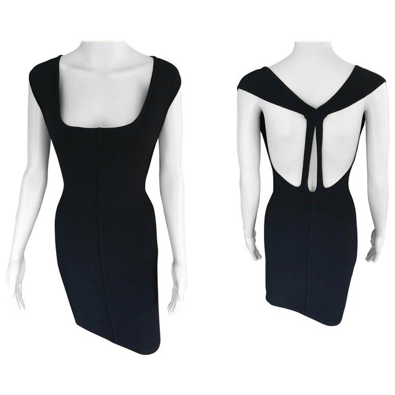 Azzedine Alaia Vintage Fitted Open Back Black Mini Dress For Sale