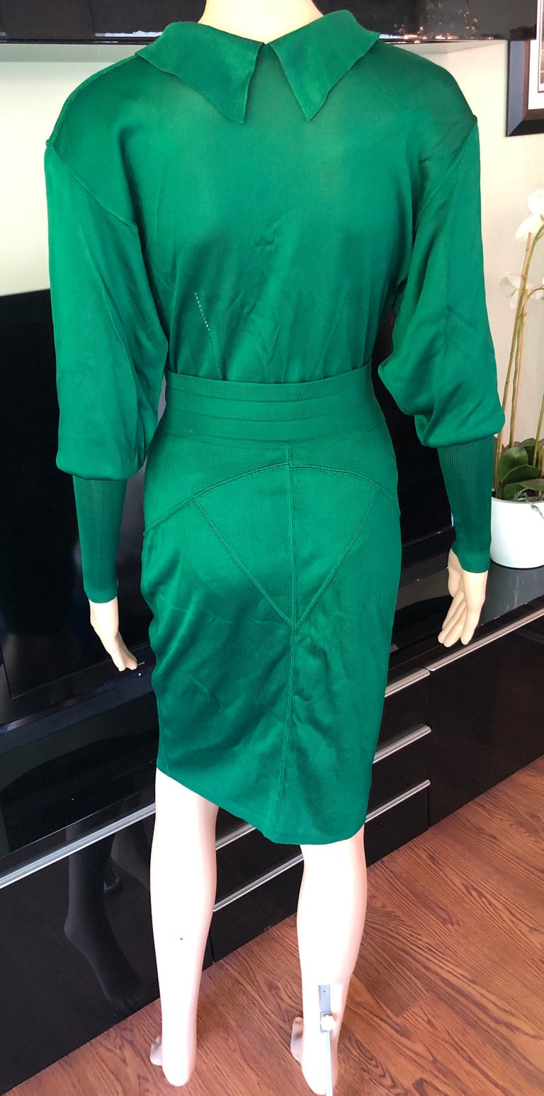 Azzedine Alaia Vintage Fitted Skirt and Bodysuit Top 2 Piece Set   Emerald Alaïa knit skirt set. Long sleeve bodysuit features pointed collar, button closures at back and snap closures at bottom. Please note the bodysuit is very versatile and can be