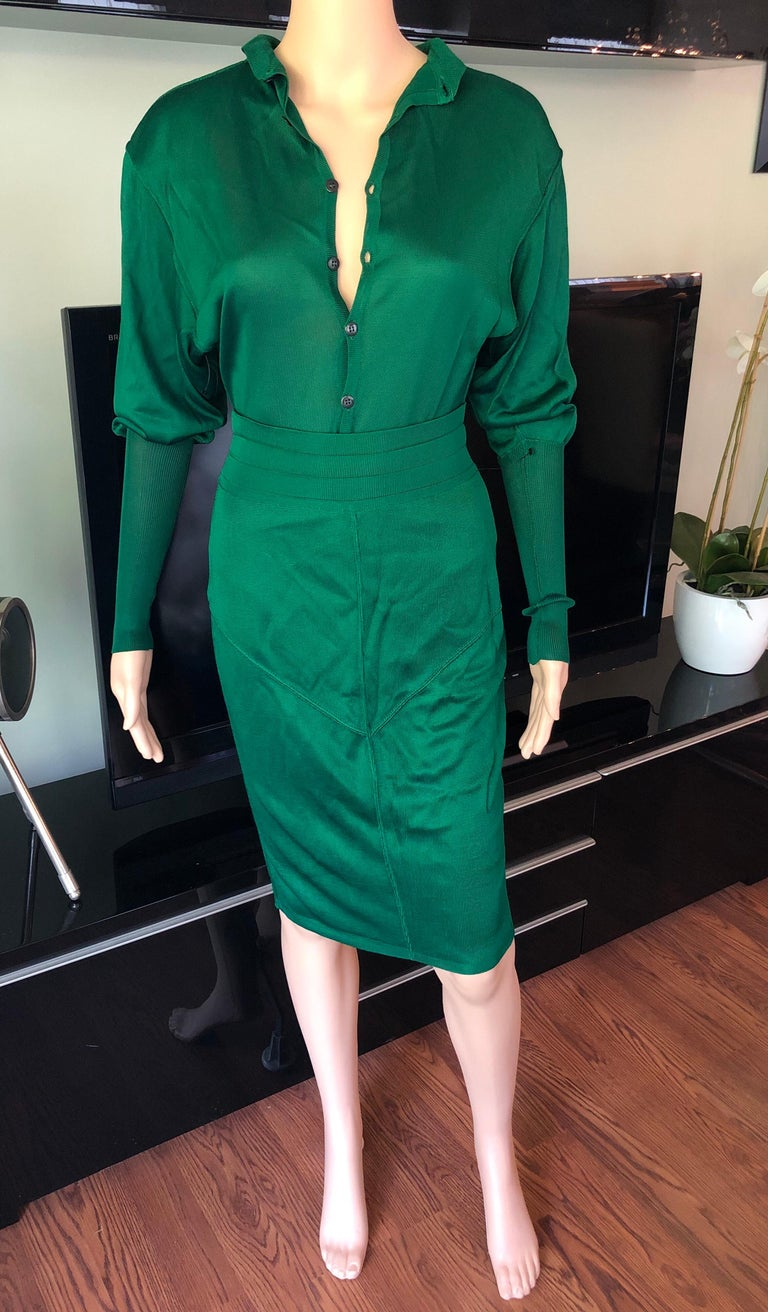 Women's Azzedine Alaia Vintage Green Knit Skirt and Bodysuit Top 2 Piece Set For Sale