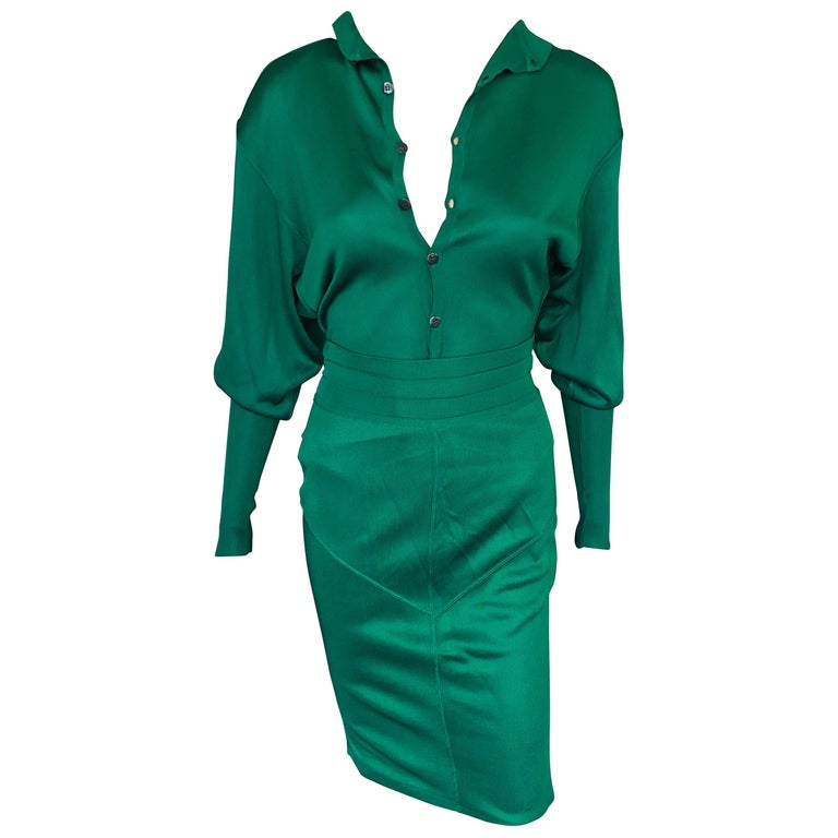 Azzedine Alaia Vintage Green Knit Skirt and Bodysuit Top 2 Piece Set For Sale