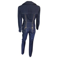 Azzedine Alaia Vintage Laced Up Denim Pants & Jacket Set Pant Suit 2 Piece Set