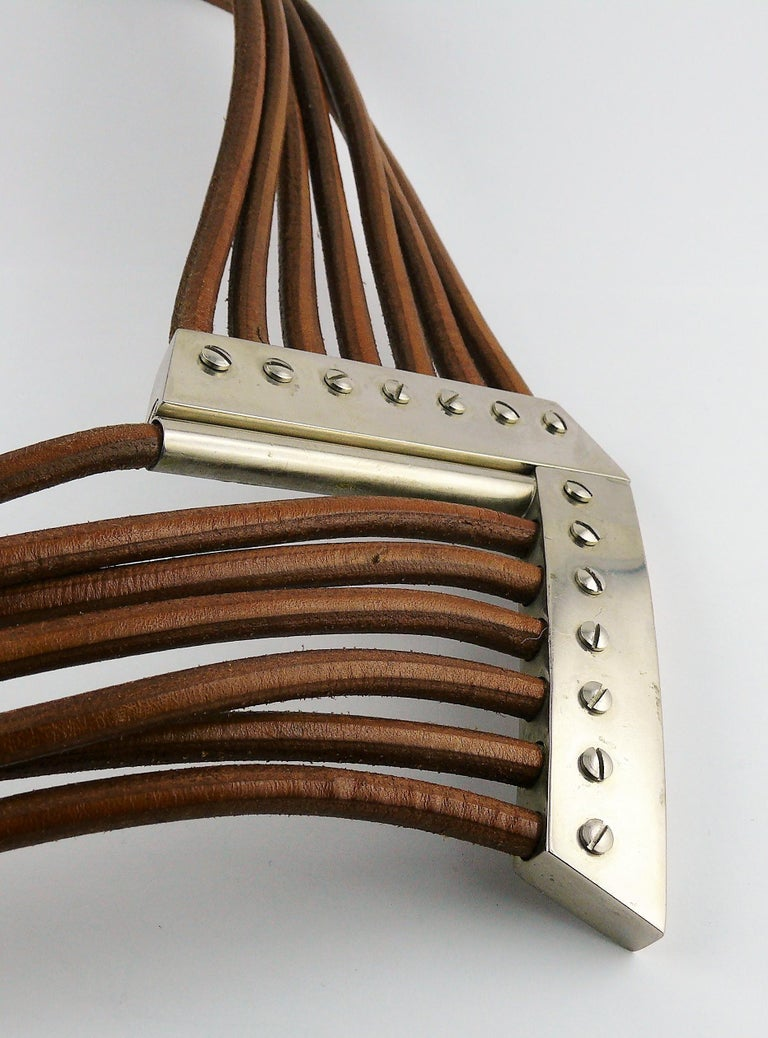 Azzedine Alaia Vintage Multi Strings Leather Belt with Silver Toned Buckle For Sale 5