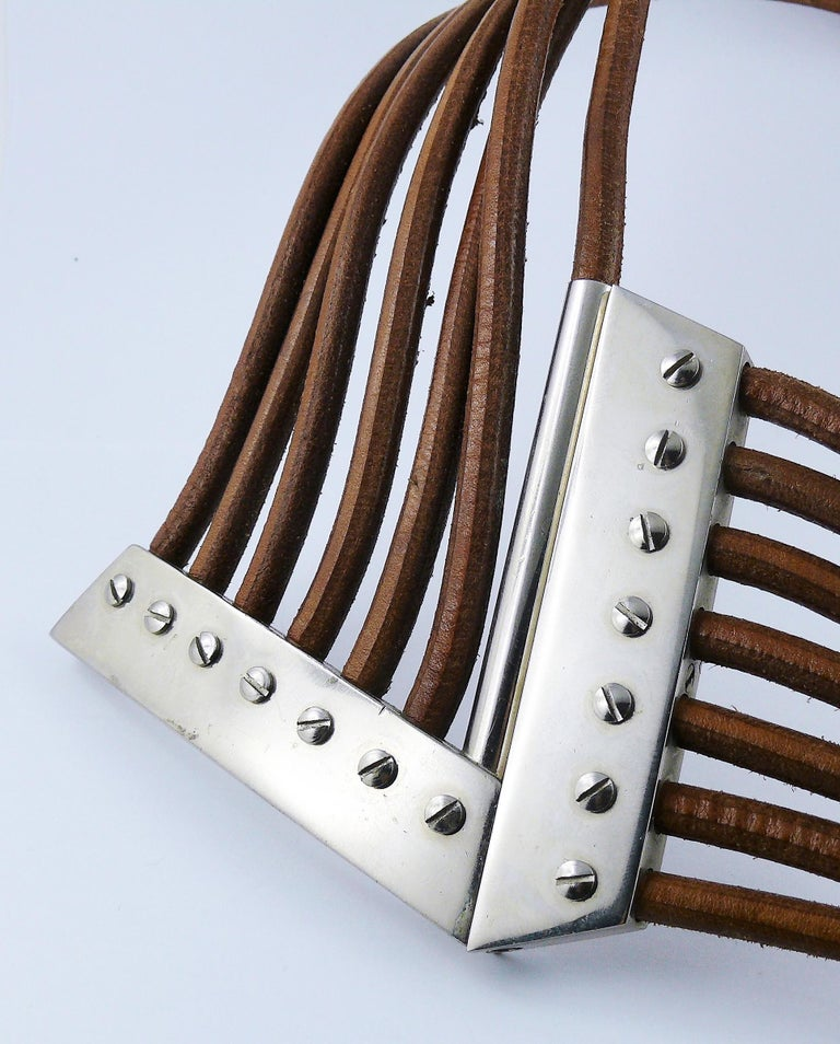 Azzedine Alaia Vintage Multi Strings Leather Belt with Silver Toned Buckle For Sale 6