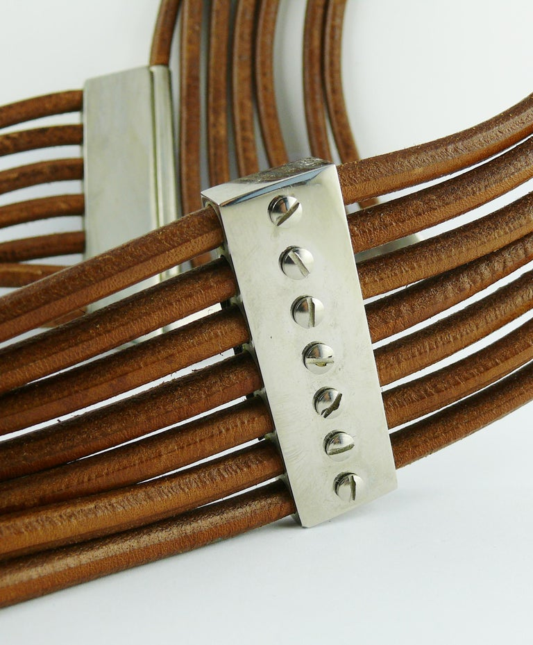 Azzedine Alaia Vintage Multi Strings Leather Belt with Silver Toned Buckle For Sale 9