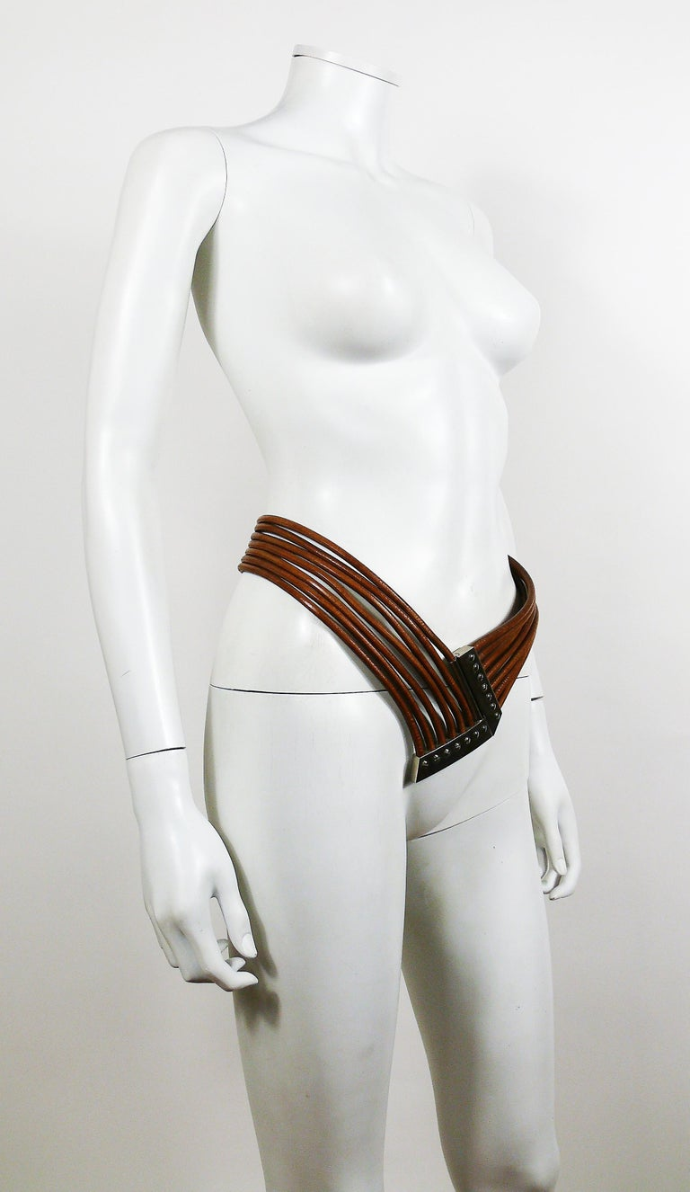 Azzedine Alaia Vintage Multi Strings Leather Belt with Silver Toned Buckle In Good Condition For Sale In French Riviera, Nice
