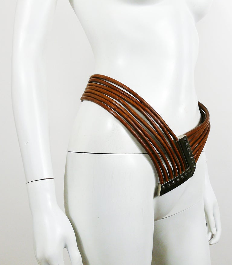 Women's Azzedine Alaia Vintage Multi Strings Leather Belt with Silver Toned Buckle For Sale