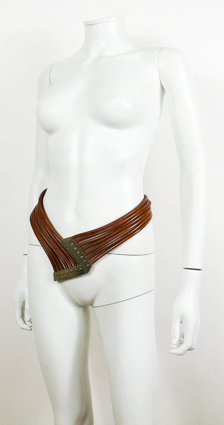 Azzedine Alaia Vintage Multi Strings Leather Belt with Silver Toned Buckle For Sale 1