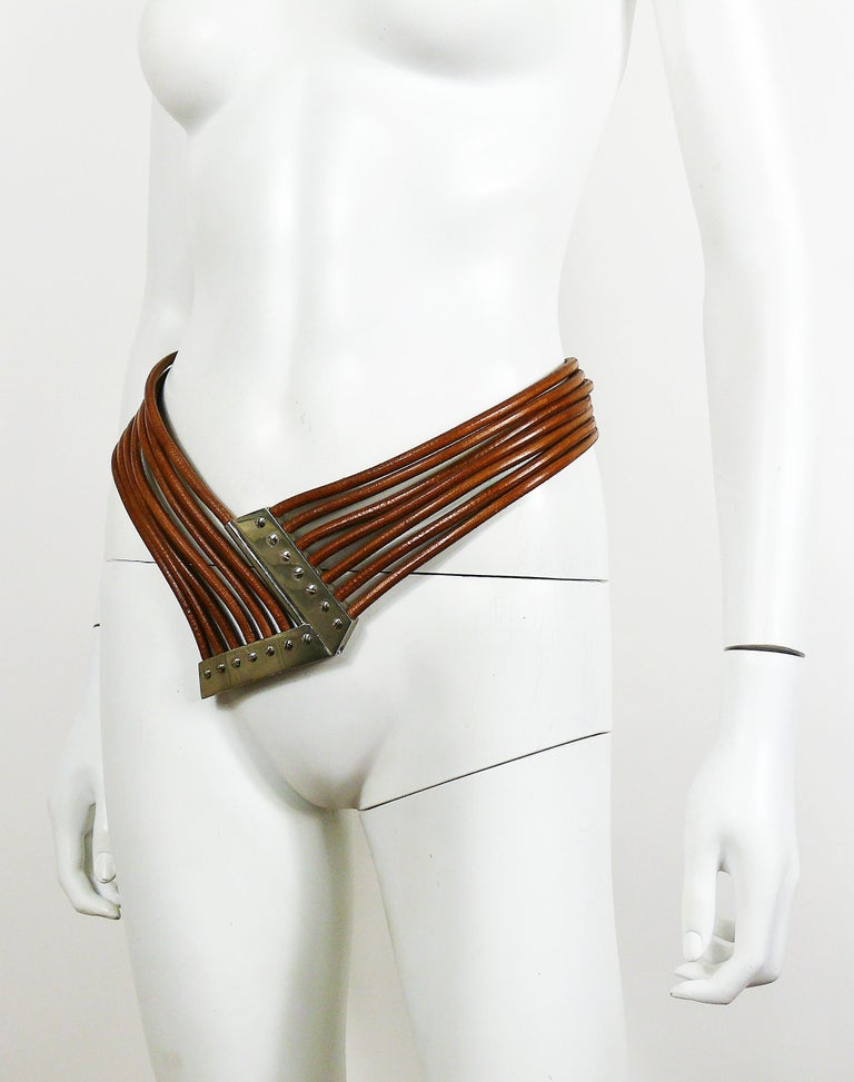 Azzedine Alaia Vintage Multi Strings Leather Belt with Silver Toned Buckle For Sale 2