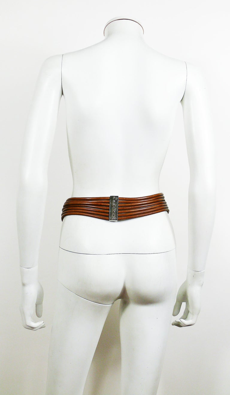 Azzedine Alaia Vintage Multi Strings Leather Belt with Silver Toned Buckle For Sale 3