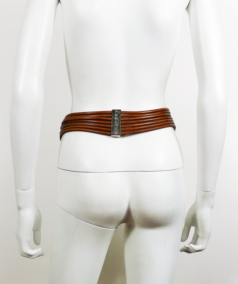 Azzedine Alaia Vintage Multi Strings Leather Belt with Silver Toned Buckle For Sale 4
