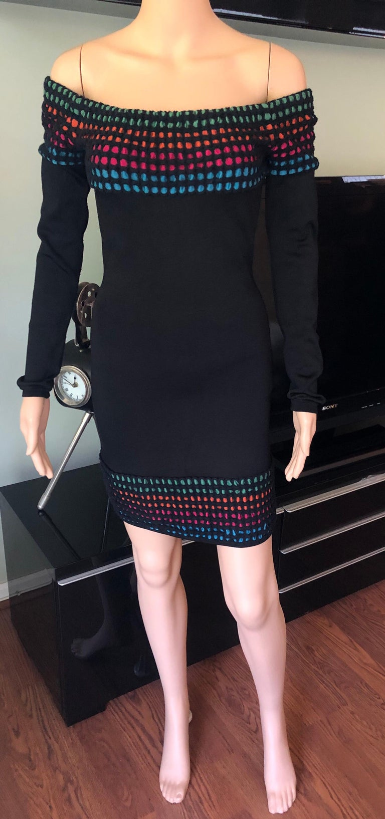 Azzedine Alaia Vintage Off the Shoulder Bodycon Dress M  Alaia bodycon dress with long sleeves, rainbow honeycomb knit accents on collar shoulders and bottom, and zip closure at back.