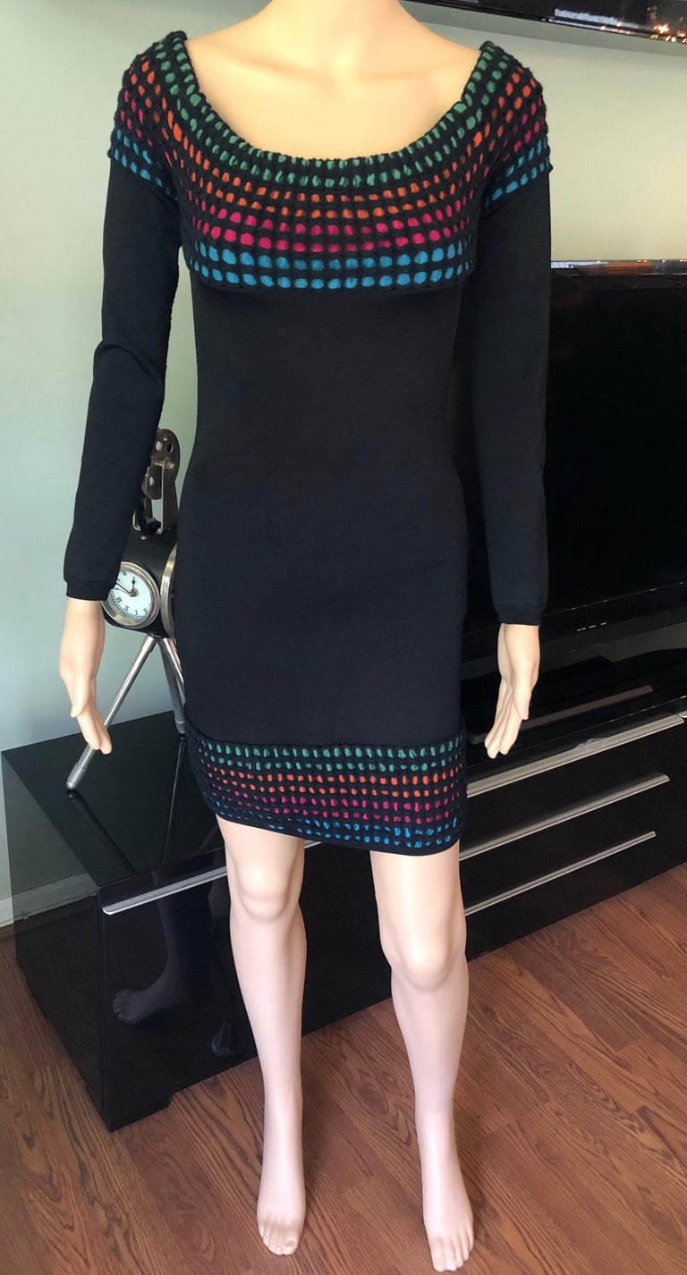Azzedine Alaia Vintage Off the Shoulder Bodycon Dress In Good Condition For Sale In Totowa, NJ