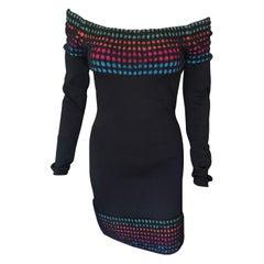 Azzedine Alaia Vintage Off the Shoulder Bodycon Dress