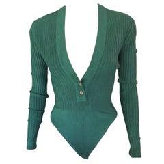 Azzedine Alaia Vintage Plunging Neckline Rib Knit Green Playsuit Bodysuit