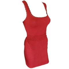 Azzedine Alaia Vintage Red Bodysuit and Skirt 2 Piece Set