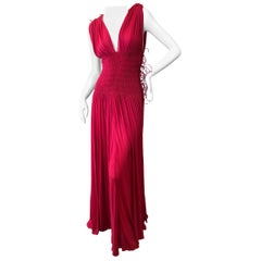 Azzedine Alaia Vintage Red Pleated Goddess Gown from Autumn 1991