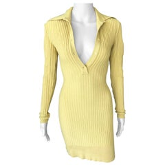 Azzedine Alaia Vintage Rib Knit Yellow Fitted Dress