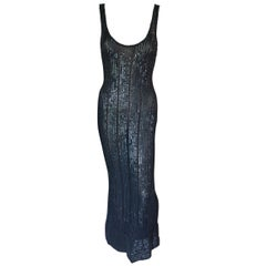Azzedine Alaia Vintage S/S 1996 Runway Black Sequin Embellished Dress Gown