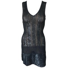 Azzedine Alaia Vintage S/S 1996 Runway Black Sequin Embellished Mini Dress