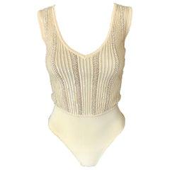 Azzedine Alaia Vintage S/S 1996 Runway Sequin Beaded Embellished Bodysuit Top