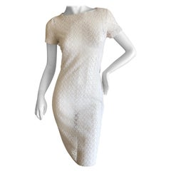 Azzedine Alaia Vintage Sheer White Guipure Lace Cap Sleeve Mini Dress