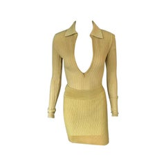 Azzedine Alaia Vintage Yellow Rib Knit Skirt and Bodysuit Top 2 Piece Set