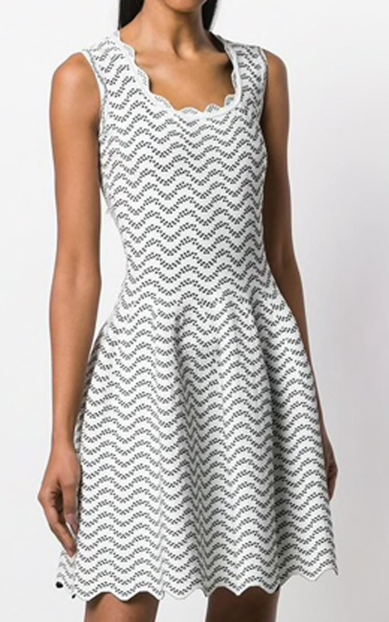 Gray  Azzedine Alaia White and Black Flared Short Dress For Sale