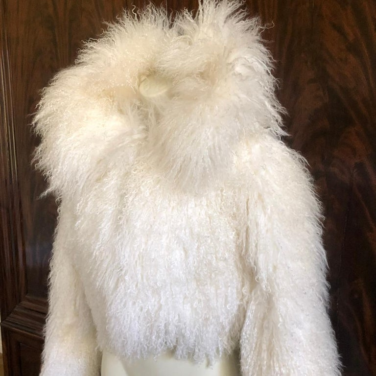 Azzedine Alaia White Curly Mongolian Lamb Jacket New with Tags $4315 Size 40 Bust 39