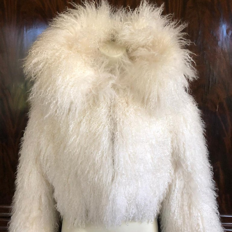 Azzedine Alaia White Curly Mongolian Lamb Jacket Size 40 New with Tags $4315 In New Condition For Sale In San Francisco, CA