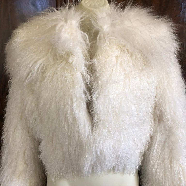 Women's Azzedine Alaia White Curly Mongolian Lamb Jacket Size 40 New with Tags $4315 For Sale