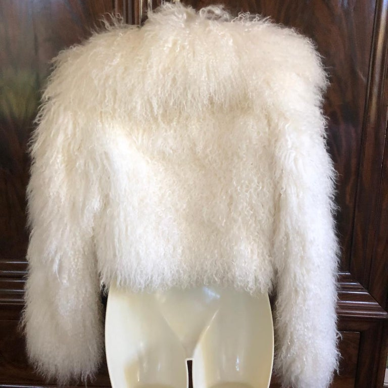 Azzedine Alaia White Curly Mongolian Lamb Jacket Size 40 New with Tags $4315 For Sale 4