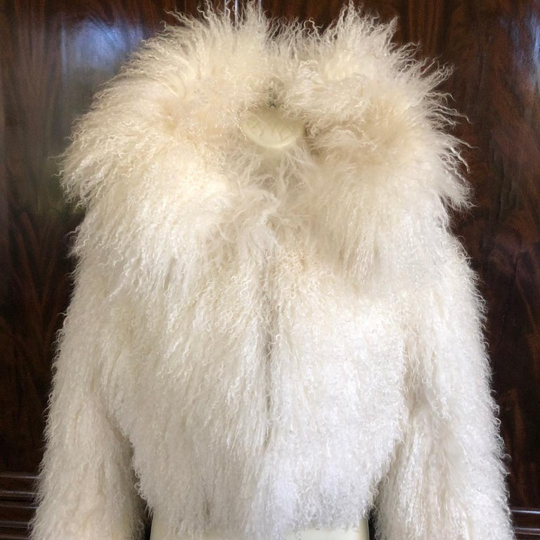 Azzedine Alaia White Curly Mongolian Lamb Jacket Size 40 New with Tags $4315 For Sale 5