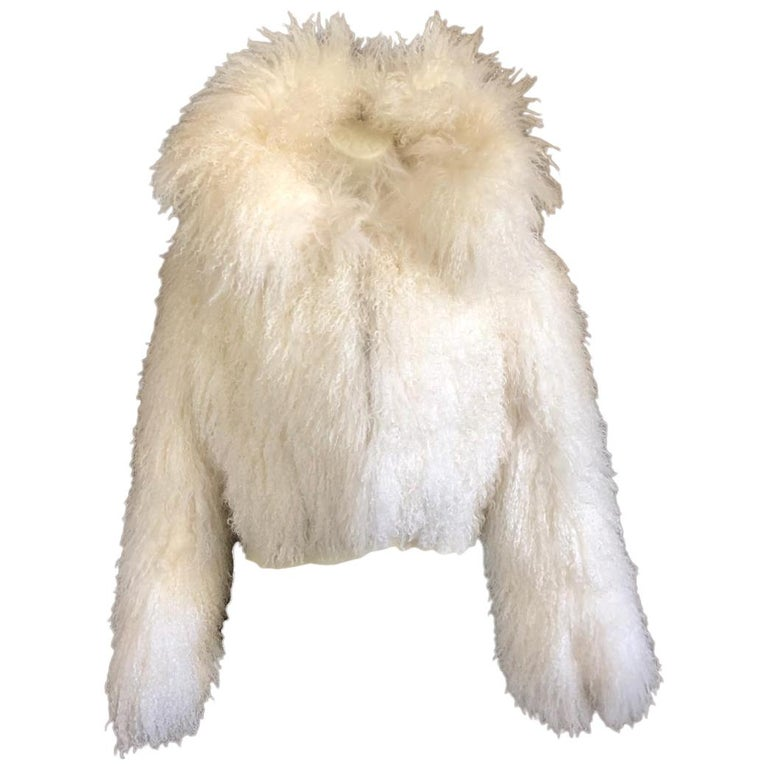 Azzedine Alaia White Curly Mongolian Lamb Jacket Size 40 New with Tags $4315 For Sale