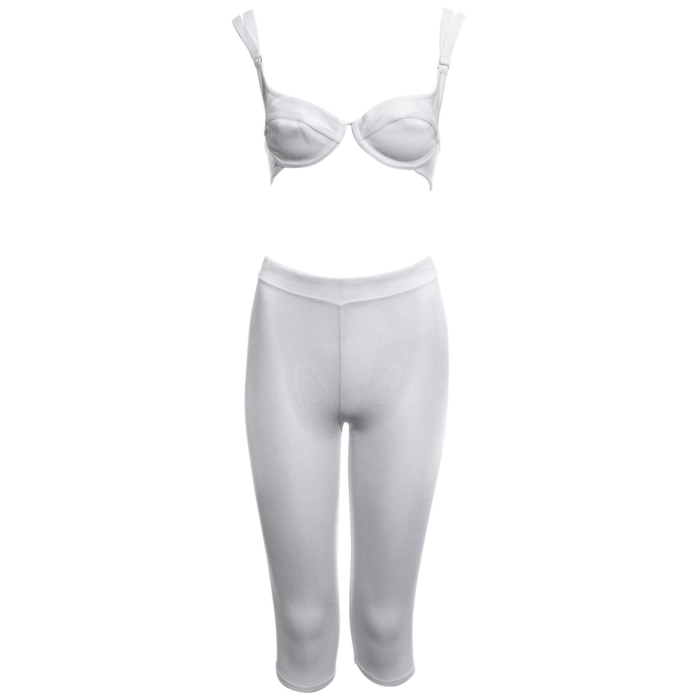 Azzedine Alaia white rayon spandex bra and cycling shorts set, ss 1990