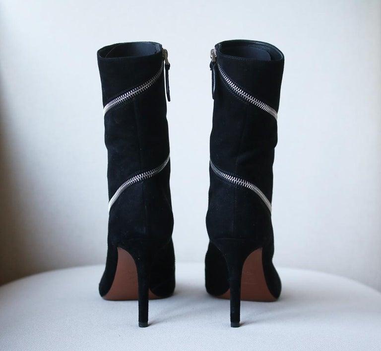 Women's Azzedine Alaïa Zipped Suede Ankle Boots  For Sale