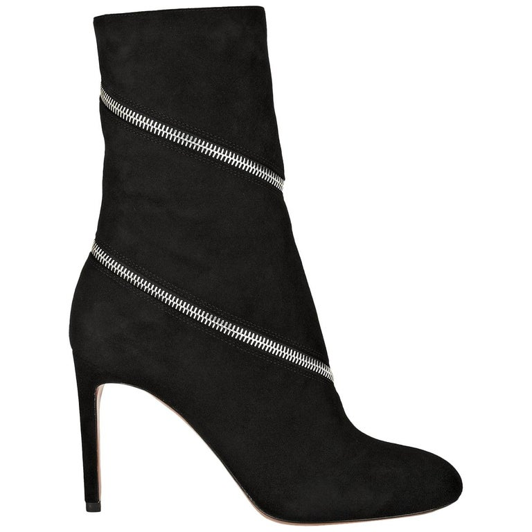 Azzedine Alaïa Zipped Suede Ankle Boots  For Sale