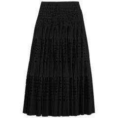 Azzendine Alaïa Laser Cut Pleated Cotton Blend Maxi Skirt