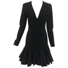 Azzidine Alaia Black Knit Dress with Felted Wool Knife Pleated Circular Hem