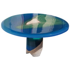 Azzurro Coffee Table, by Eduard Locota, Green-Turquoise Acrylic Glass & Marble