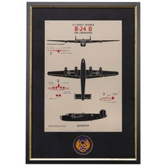 """""""B-24 D Liberator"""" Recognition Identification WWII Vintage Poster, 1942"""