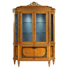 B/5142 Italian Showcase in Inlaid Wood with Two Doors by Zanaboni