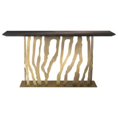 B-52 Console Table in Oak Top with Metal Base by Roberto Cavalli
