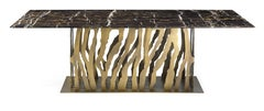 B-52 Dining Table in Bronze Finish Base and Marble Top by Roberto Cavalli