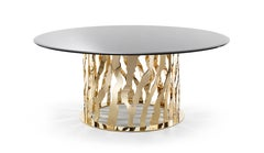 B-52 Round Dining Table in Metal Base with Glass Top by Roberto Cavalli
