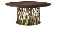B-52 Round Dining Table in Metal Base with Wooden Top by Roberto Cavalli