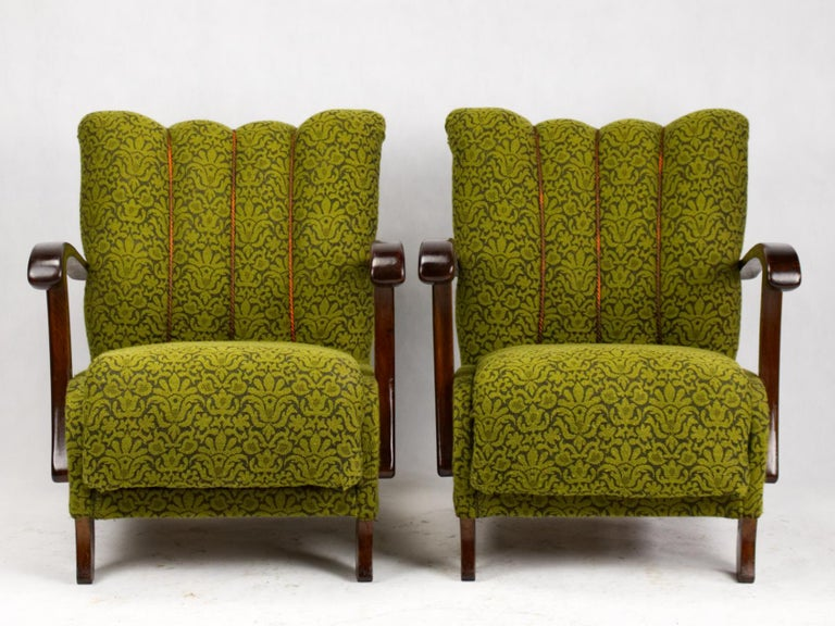 Art Deco armchairs catalogue no. B-970 by Thonet, manufactured in Czechoslovakia, circa 1920s. Original condition.