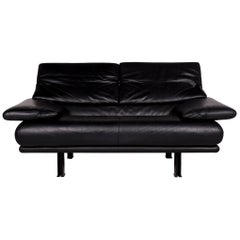 B & B Italia Alanda Leather Sofa Black Two-Seat Function Paolo Piva Couch