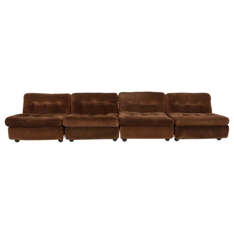 B & B Italia Amanta Designer Fabric Sofa Brown Four-Seat Couch